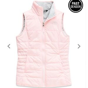 Girls pink gray the north face vest new large